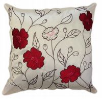 LARGE FLORAL DESIGNER FAUX SILK STYLISH FILLED CUSHION RED & CREAM COLOUR